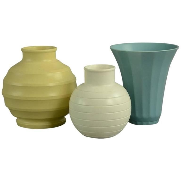 Set Of Three Vases By Keith Murray For Wedgwood 1930s Wedgwood
