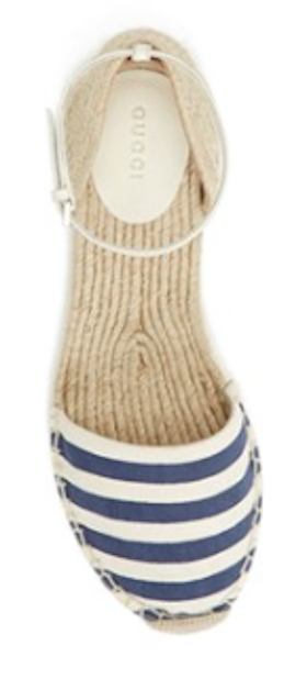 loving these navy blue striped espadrille flats