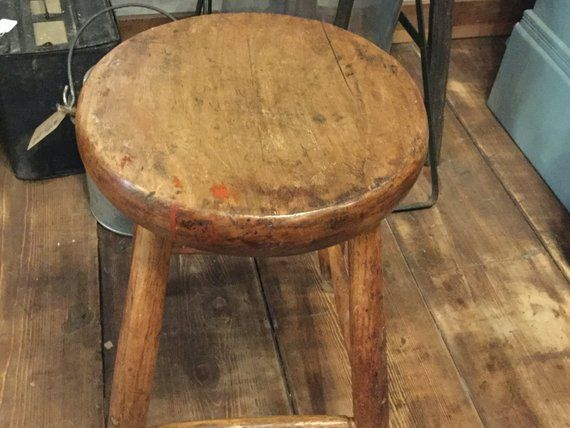Astonishing Antique Solid Wood Farm Stool Primitive Wooden Stool Milking Creativecarmelina Interior Chair Design Creativecarmelinacom