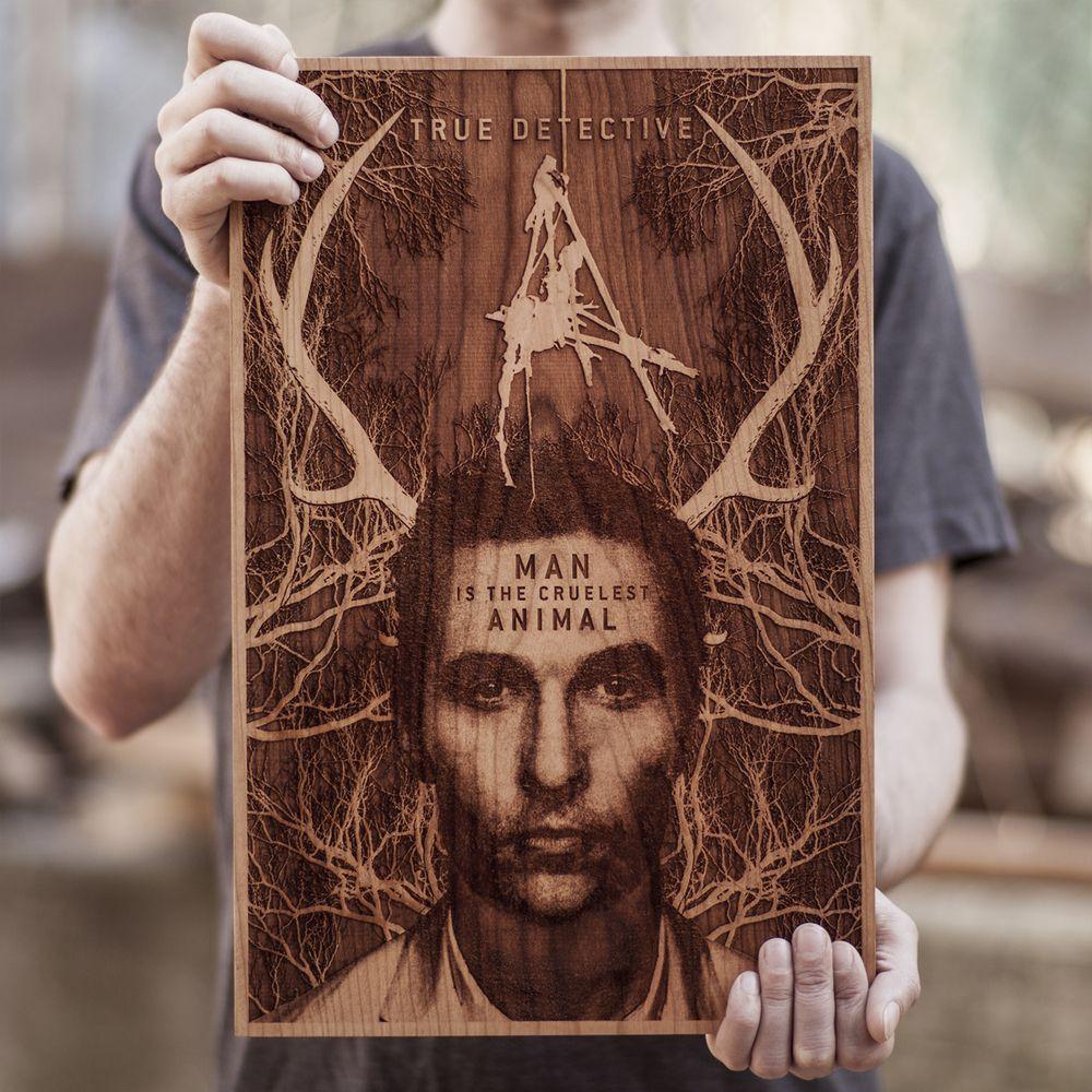 TRUE DETECTIVE wooden poster