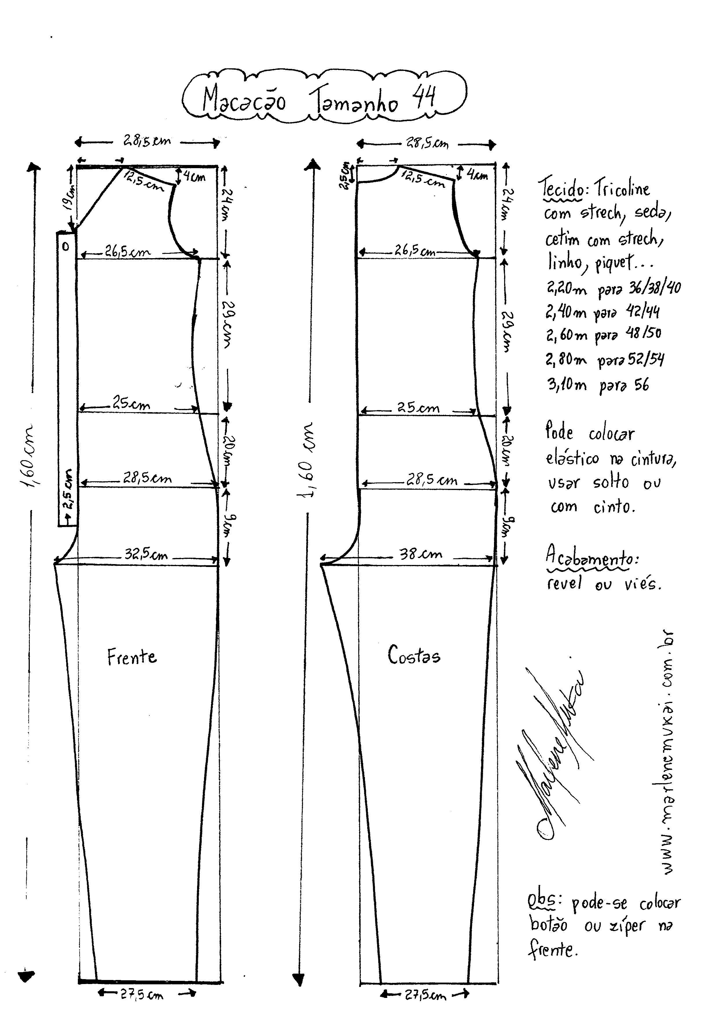 Macacão Longo | patrones | Molde, Costura y Macacão