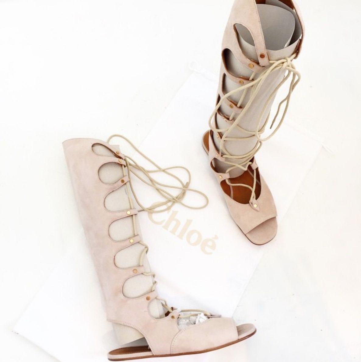 1a67597fd3f1 Chloe Cream Puff (light beige) suede lace-up tall gladiator sandals. Worn