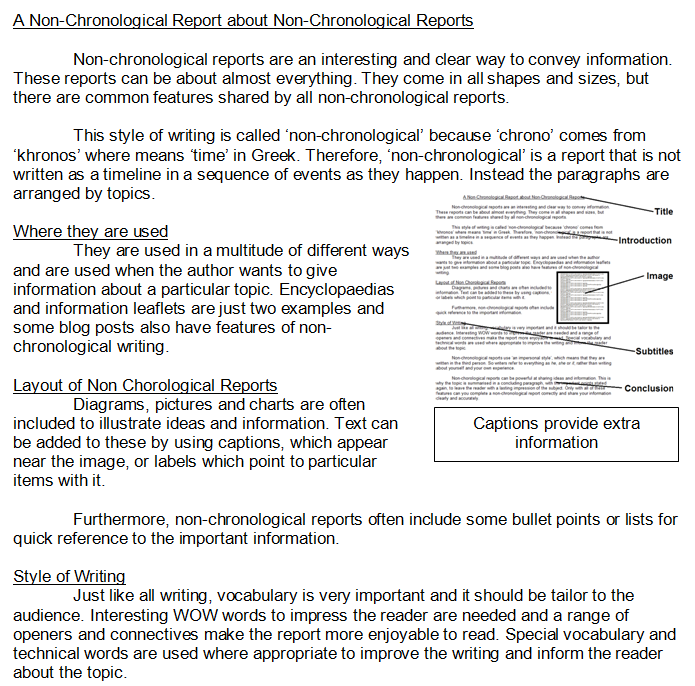 A Non Chronological Report About Non Chronological Reports An