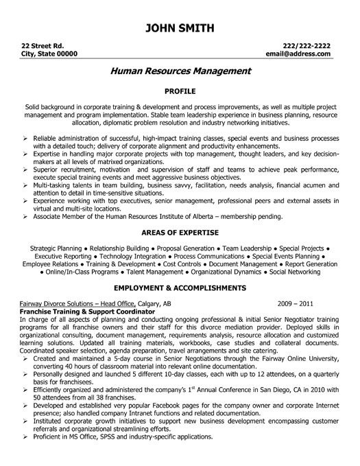 Human Resources Resume Sample A Resume Template For A Franchise Training And Support Coordinator