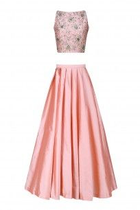 Apricot Peach Embroidered Crop Top and Lehenga Skirt with  A Trail