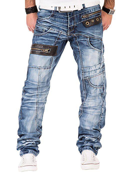 Kosmo Lupo K M 012 Designer Herren Jeans Hose Clubwear Style Blau  Verwaschen Multi Pocket W29-W38   L32-L34, Größe W30   L32 48c3b6eb8e