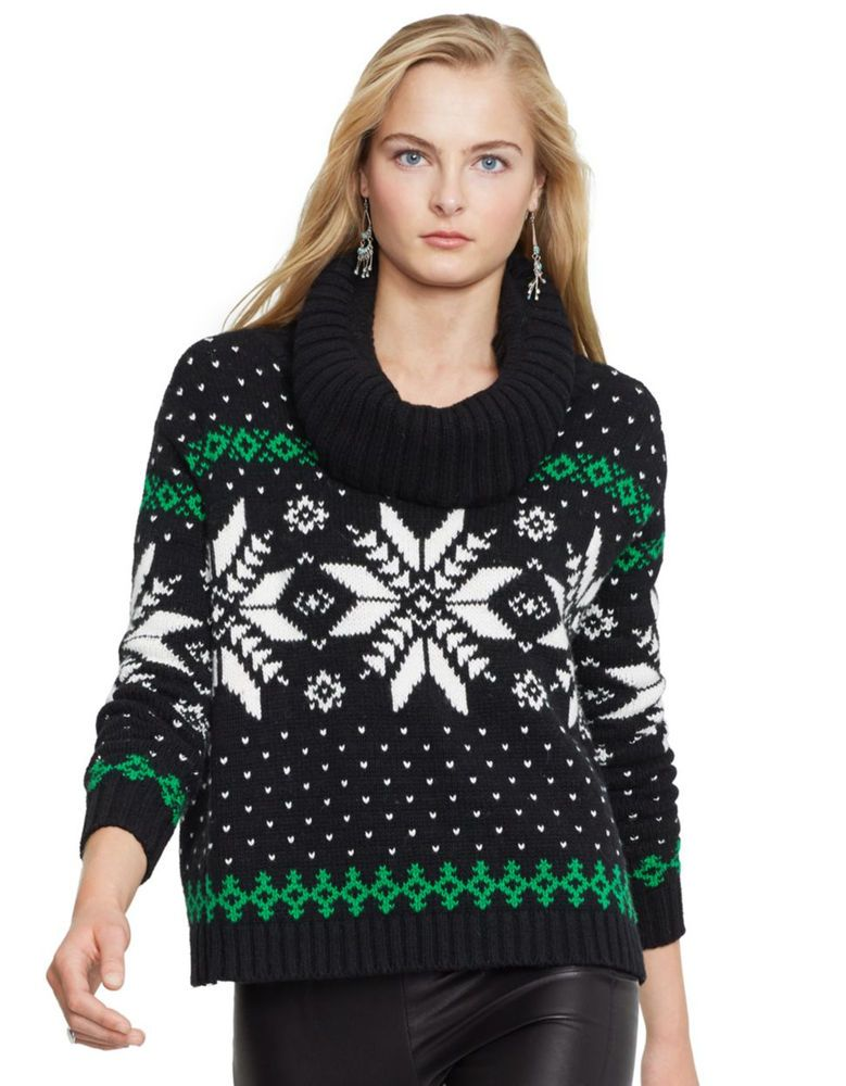 3d75674d0 ... new style nwt polo ralph lauren womens l black snowflake cowl neck  heidi holiday sweater ebay