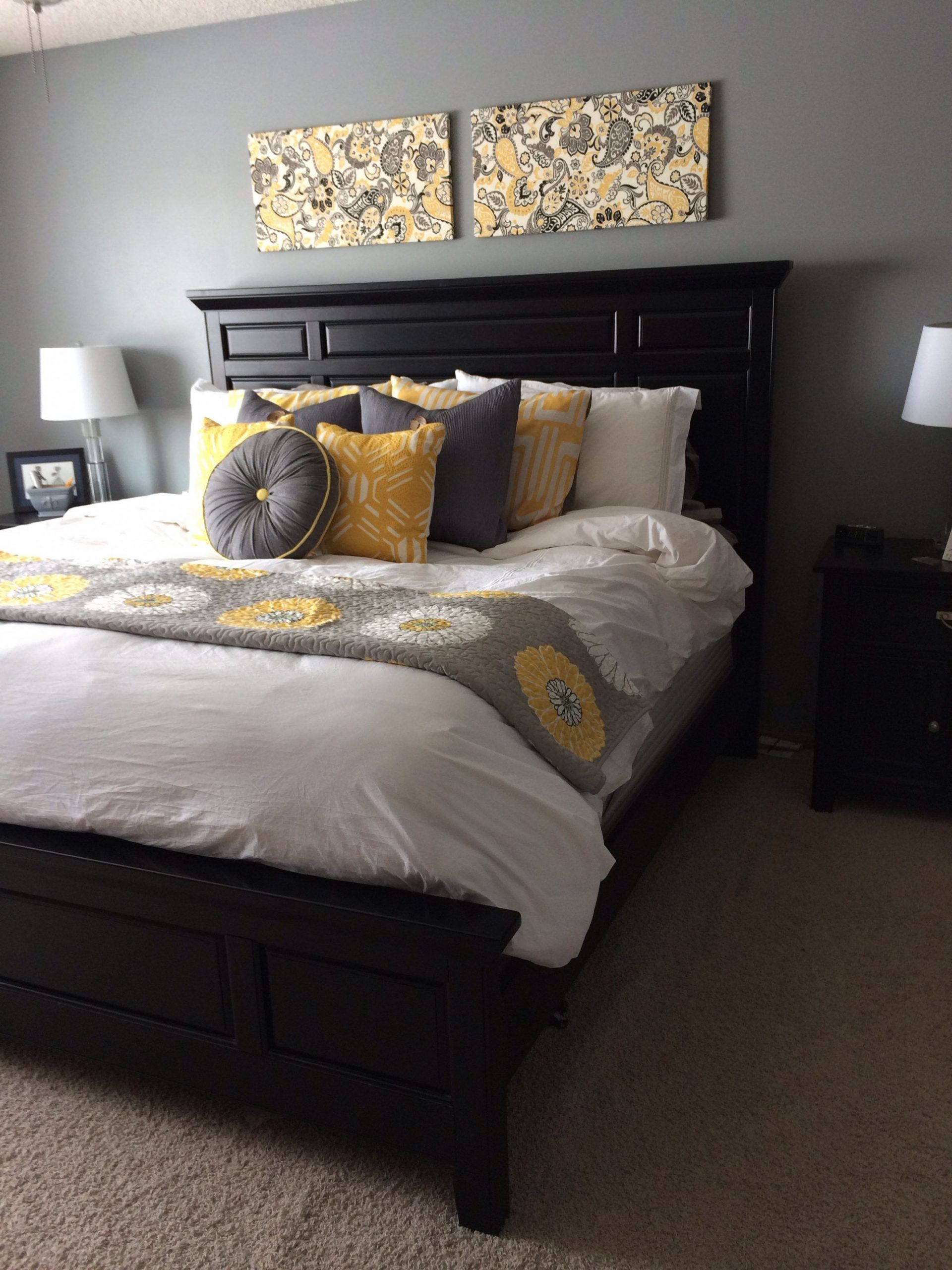 Grey And Yellow Bedroom Ideas Pinterest Decor With Pop Of Color Black Furniture