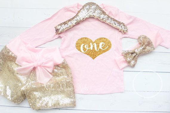 First Birthday Outfit Girl Pink Birthday Outfit by NylaMarieKids