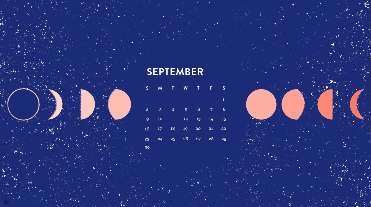 September 2018 Desktop Moon Calendar Calendar Wallpaper Desktop Calendar Cute Desktop Wallpaper