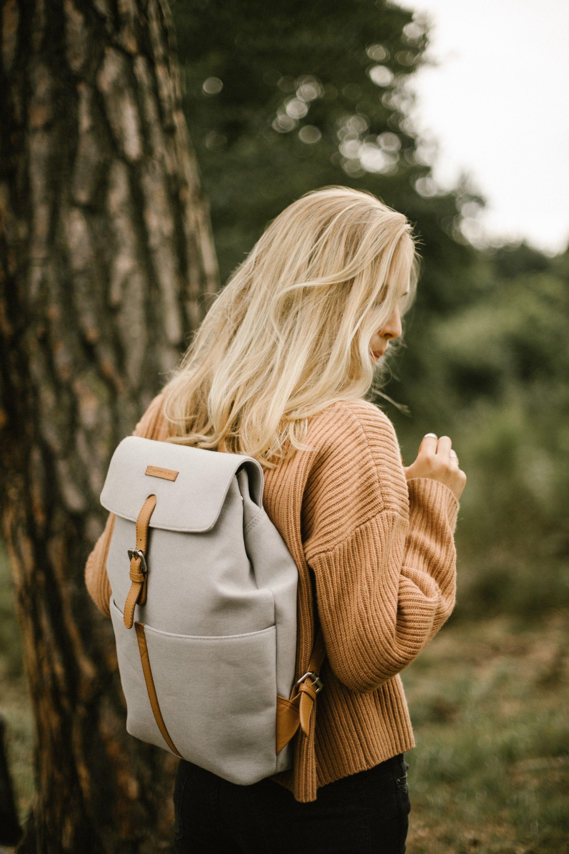 Scandinavian Backpack Minimalist School College University Travel Backpack Vegan Backpack Rucksack Feminin B Minimalist Bag Bags Brown And Grey