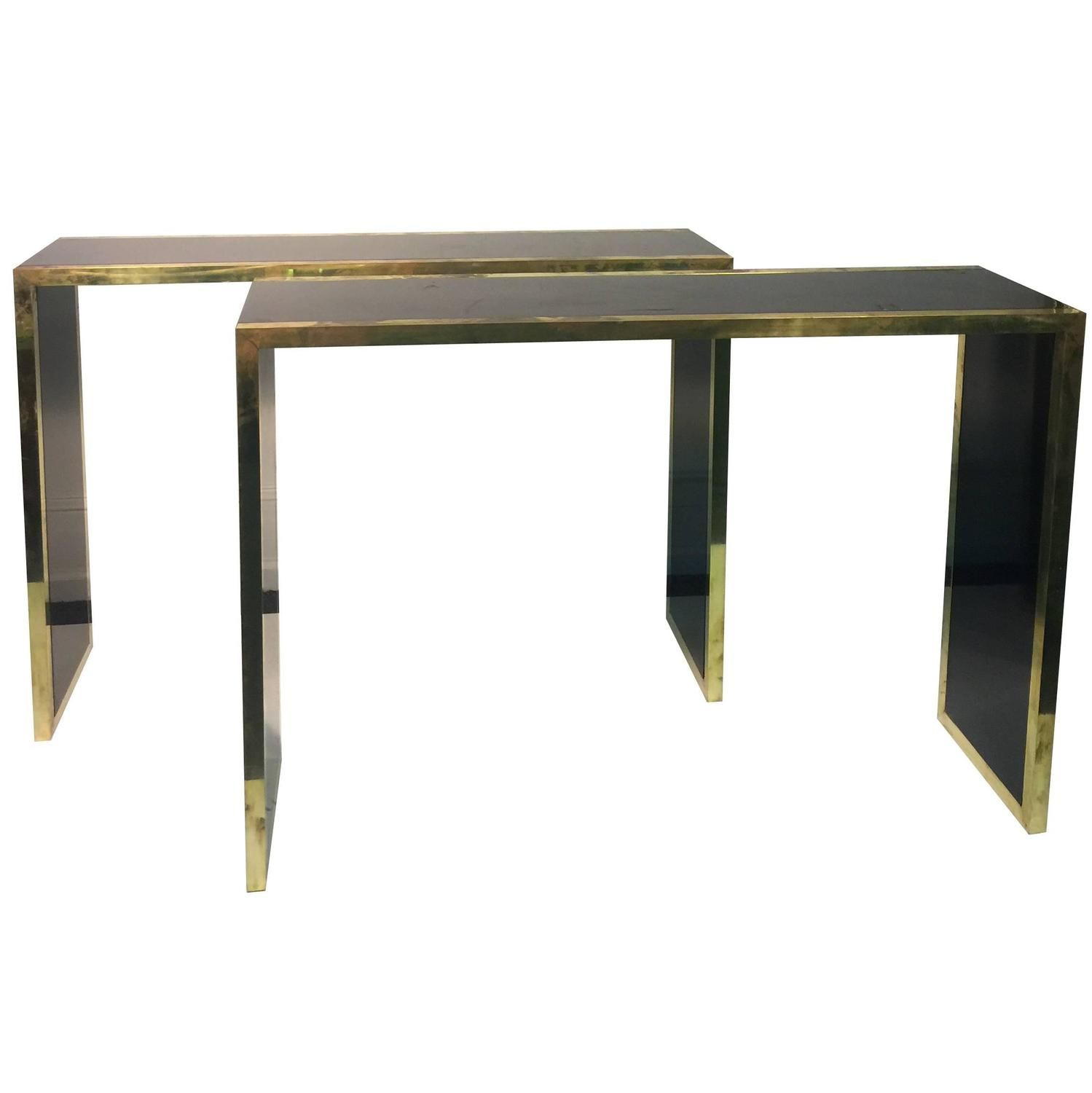 Elegant pair of black lacquer brass console tables in the style elegant pair of black lacquer brass console tables in the style of alain delon geotapseo Images