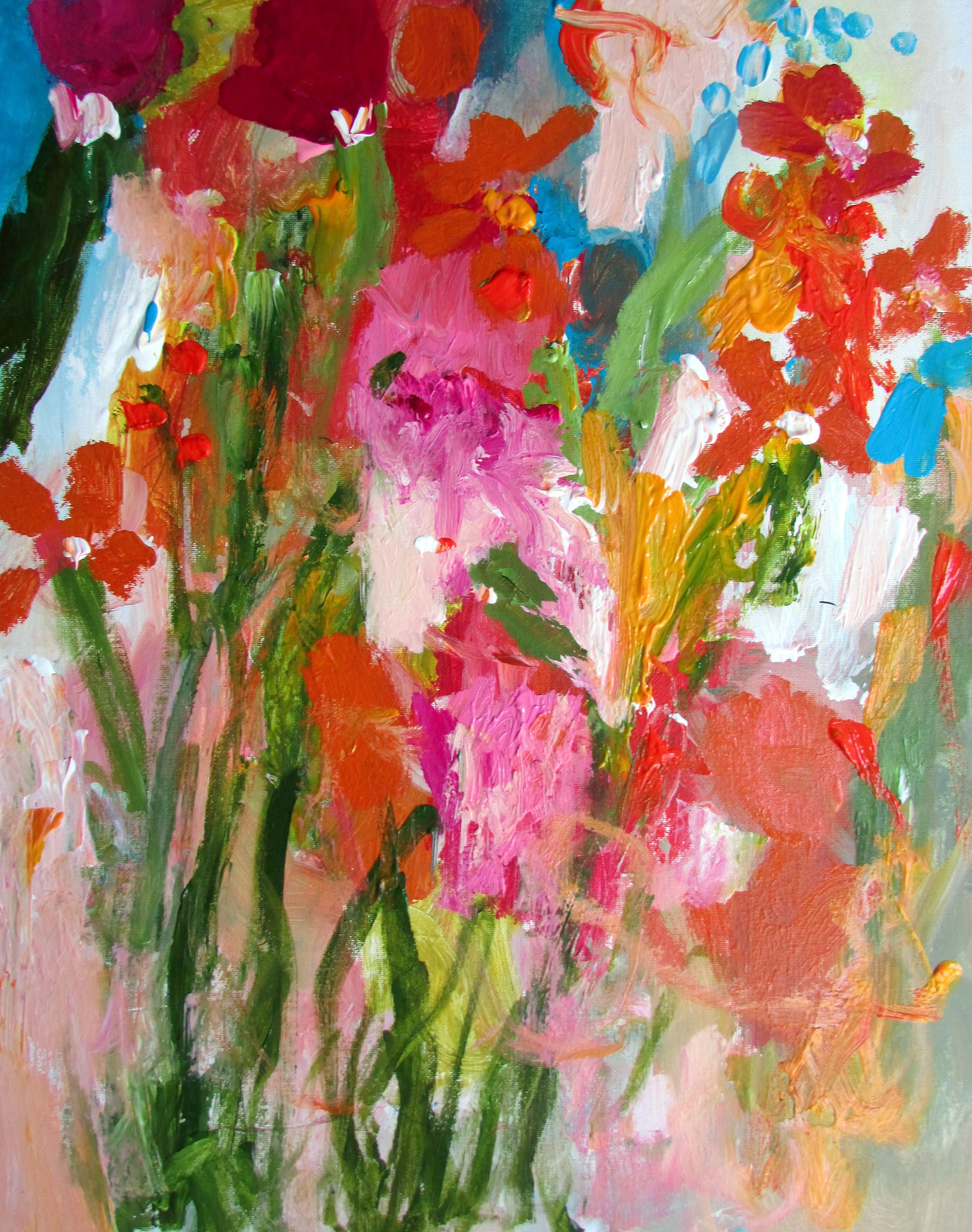 flowers on 16x20 panel board wendy mcwilliams
