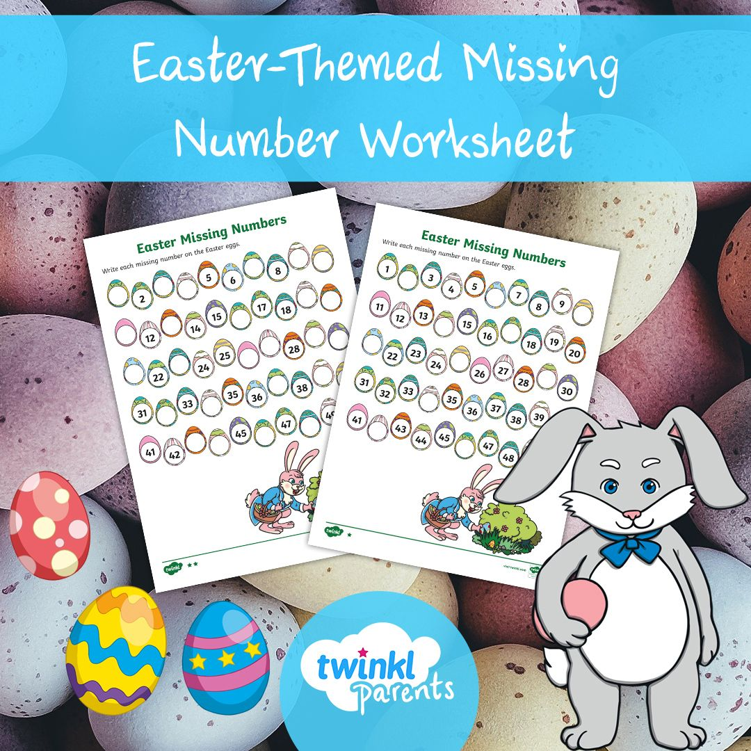 Easter Themed Missing Number Worksheet Ages 5 7 In