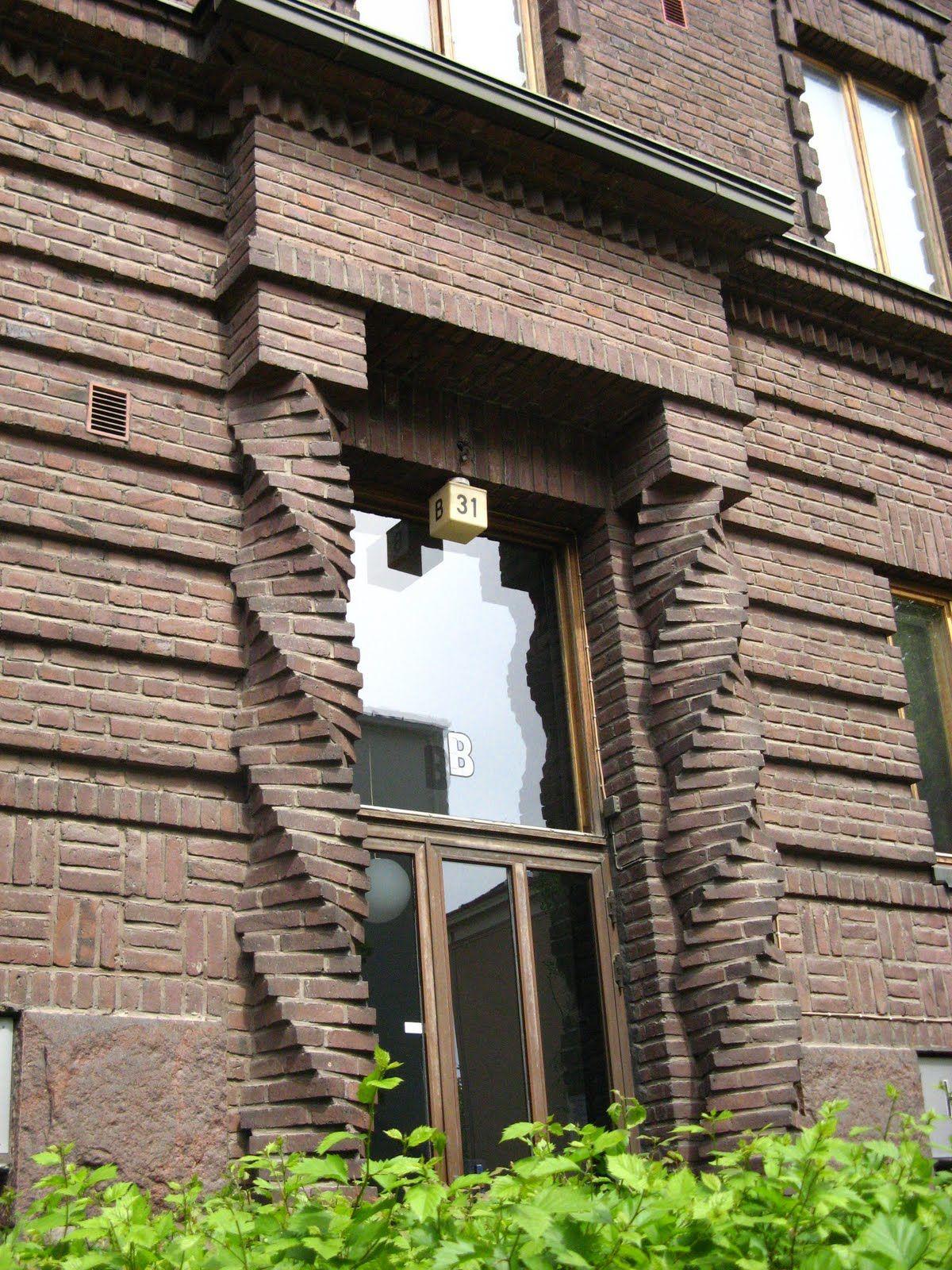 Neat brickwork. Spiral /twisted columns.