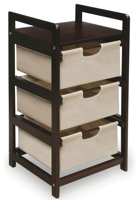 Espresso three drawer storage unit contemporary closet organizers