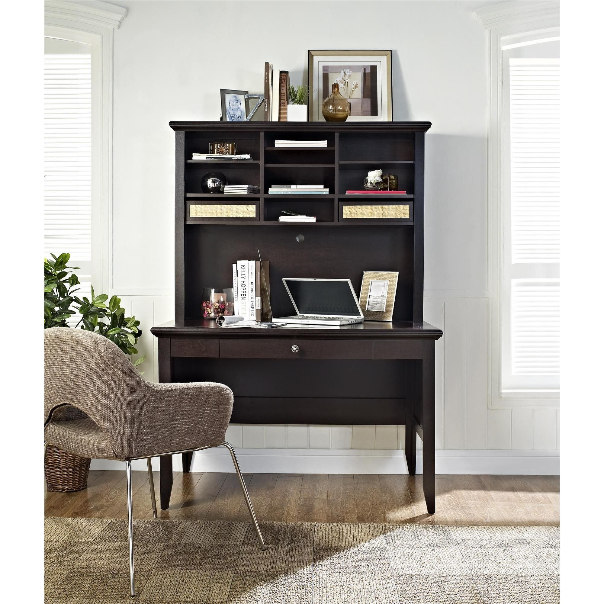 Simplistic Dark Finish Cherry Wood Writing Desk With Tapered Legs And Shelf On Hutch Plus Small Drawer As Well Furniture Also Of Elegant