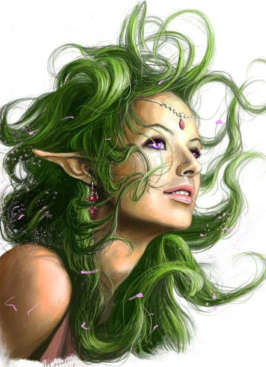 Green Haired Elf Fantasy Art Fantasy Women Fantasy Artwork
