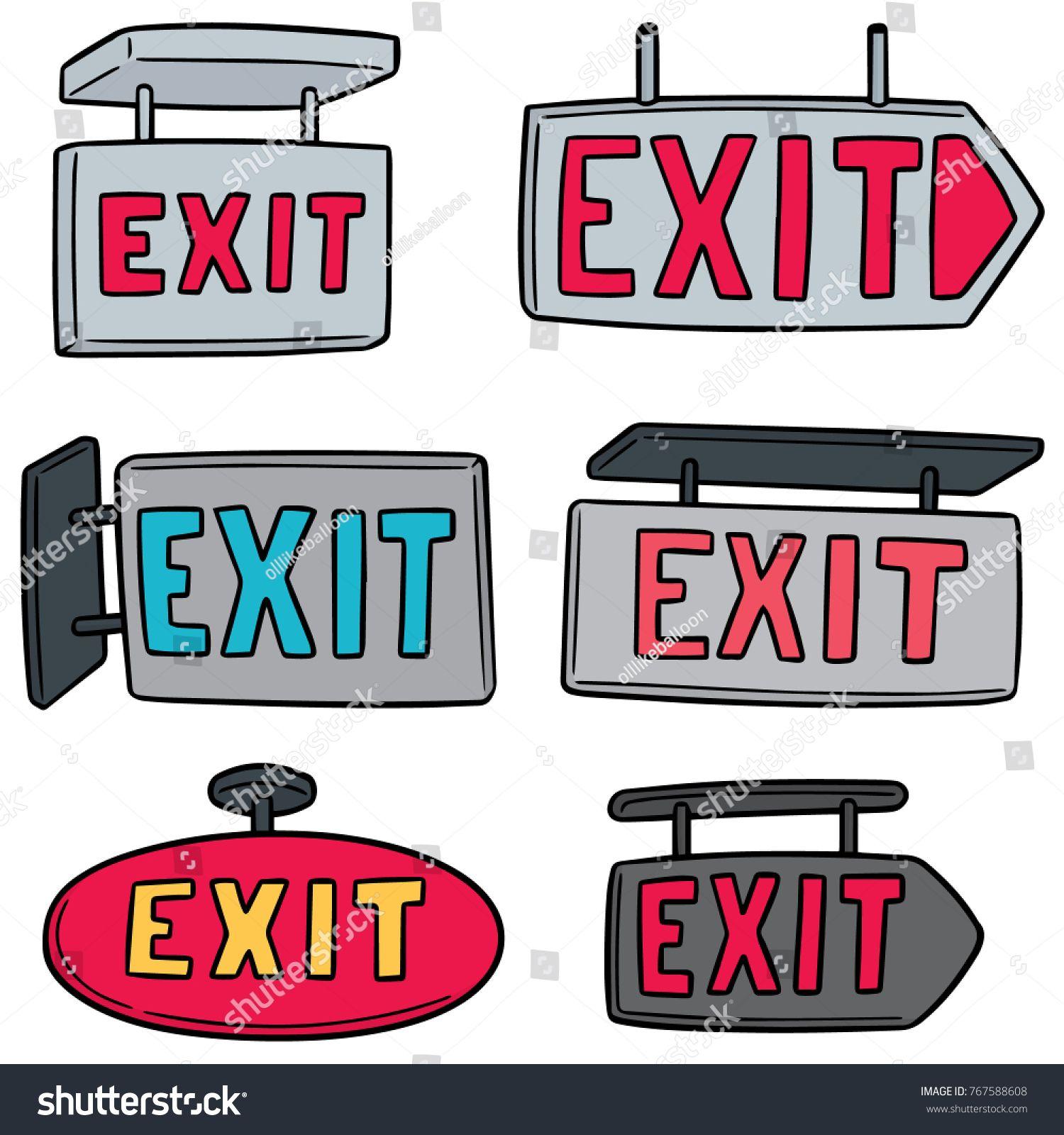 vector set of exit sign | Exit sign, Exit, Doodle illustration