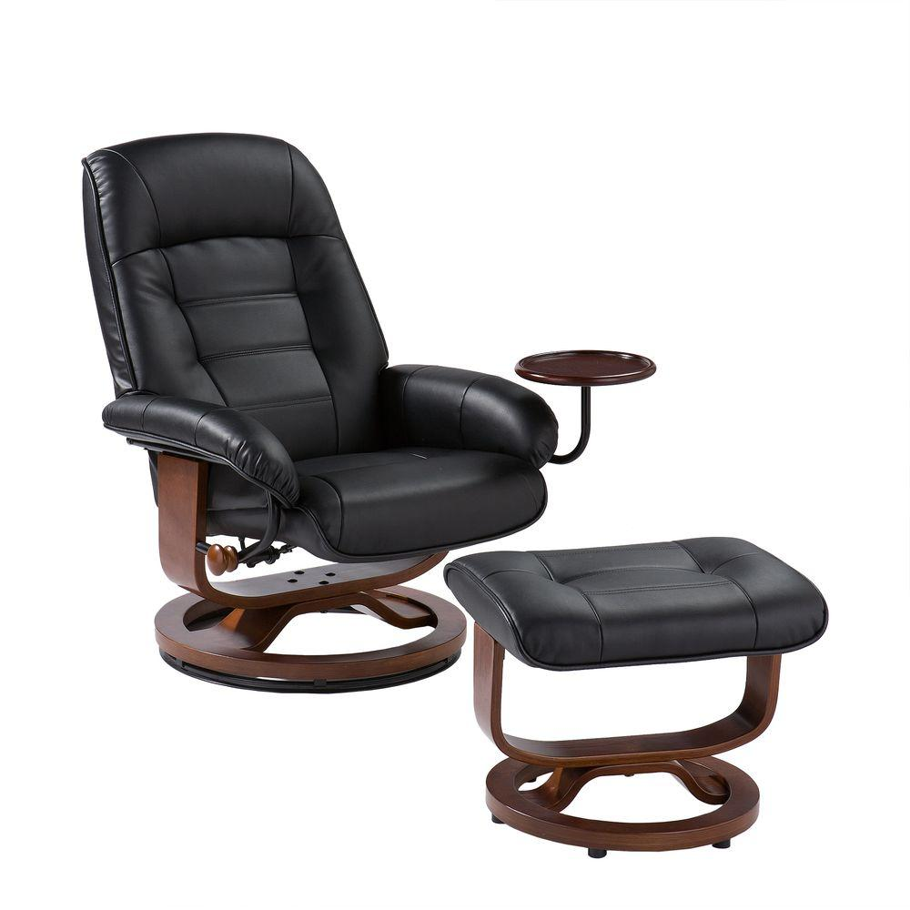Black Leather Reclining Chair With