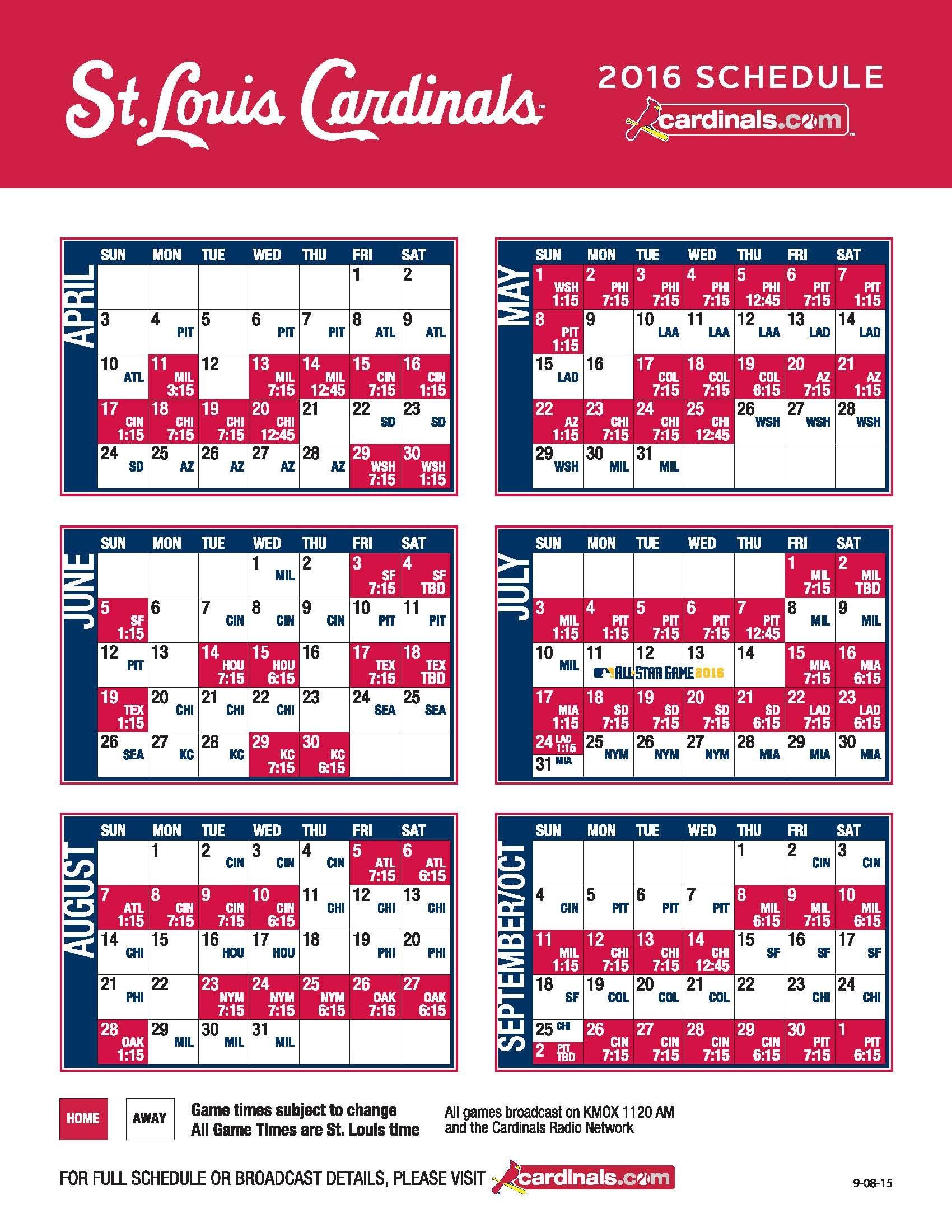 Check The St Louis Cardinals 2016 Season Schedule Cardinals Schedule St Louis Cardinals Stl Cardinals