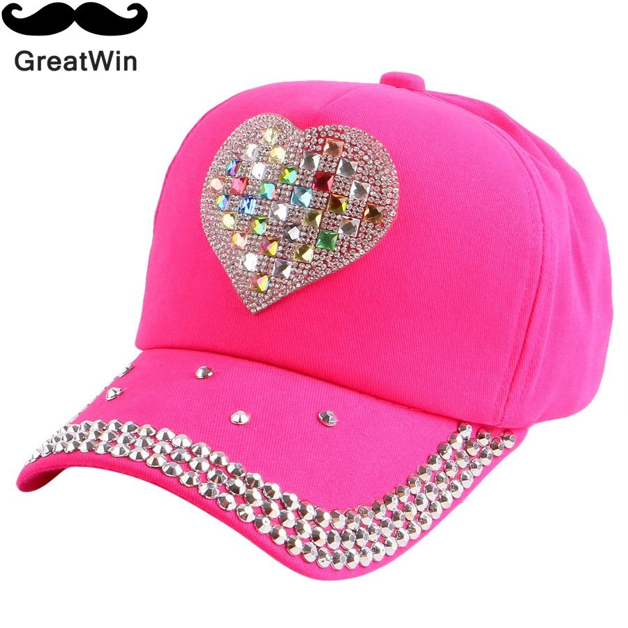 new fashionable kids beauty baseball cap fuchsia pink black color rhinestone  heart fitted baby girl boy children snapback hat 217c3ad52ab4