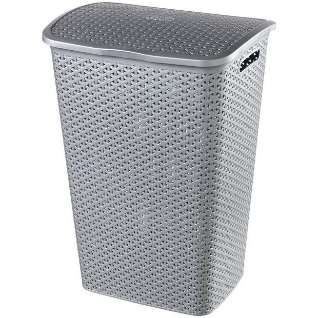 Buy Curver 55 Litre Laundry Hamper Grey Linen Baskets And