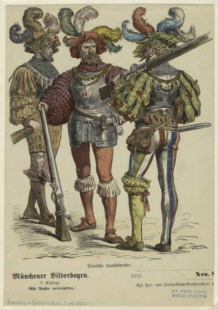 Немецкие ландскнехты, 1500-е гг. Гравюра. «Костюмы всех народов: 123 листа, содержащих более 1500 цветных изображений костюмов лучших художников Мюнхена»