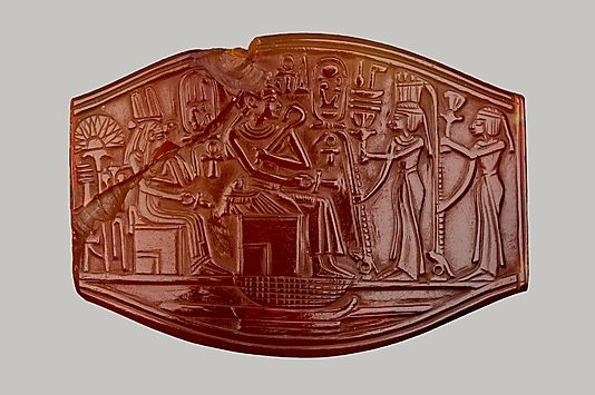 Carved Plaque  Period: New Kingdom Dynasty: Dynasty 18 Reign: reign of Amenhotep III Date: ca. 1390–1352 B.C. Geography: Egypt, Upper Egypt; Thebes Medium: Carnelian