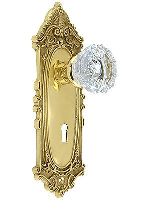 Brass metal 12 flute Glass Knob x 12 flute Glass Knob Vintage Mortise Lockset