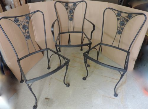 3 Vintage Woodard Wrought Iron Daisy Back Patio
