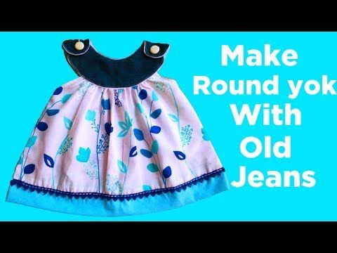 52a3e53e2fa9 baby frock with old jeans designing tutorial for 6 month baby girl ...