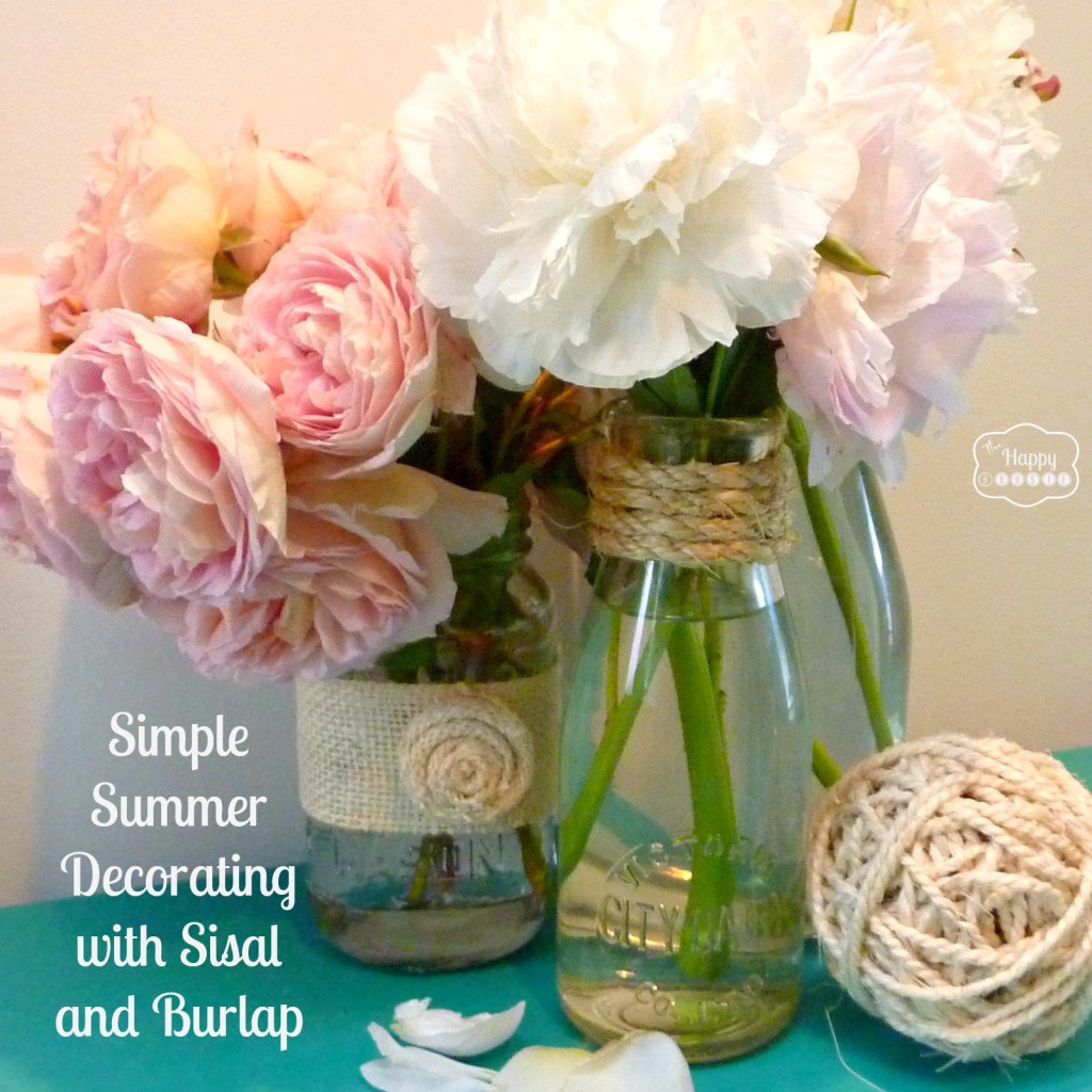 Simple summer decorating with sisal burlap and blooms summer