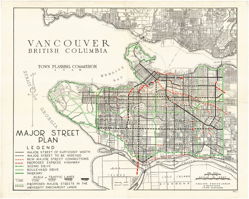 1946 map of the city of vancouver showing all the planned new roads including a freeway