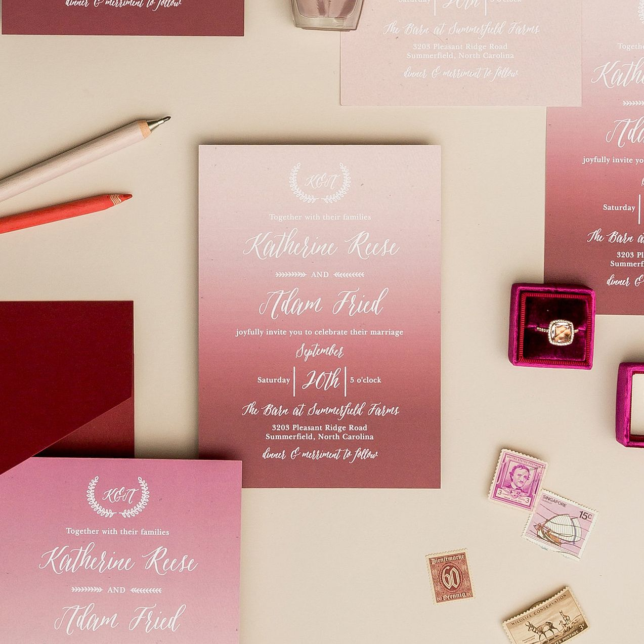 Go for a vibrant color pop with your wedding invitations for a knock ...