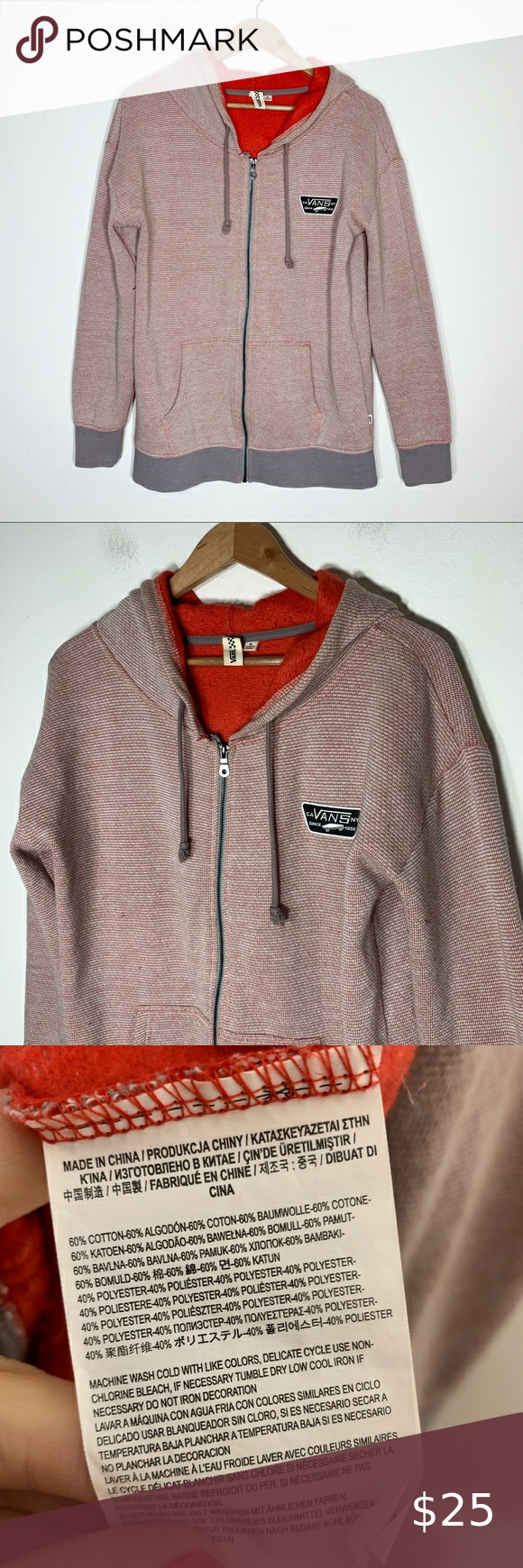 Vans Red Gray Zip Up Hooded Sweatshirt Great Pre Owned Condition No Issues Red And Gray Knit Fleece Hooded Sweatshirts Mens Sweatshirts Hoodie Grey Zip Ups [ 1740 x 580 Pixel ]