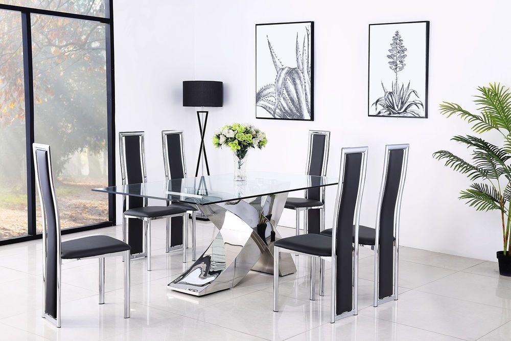 Modern Glass And Steel Cross Leg Design Valencia Dining Table