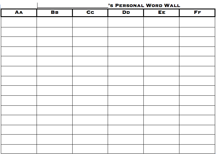 Personal Word Wall Printable Personal Word Wall Word Wall Template Personal Word Wall Printable