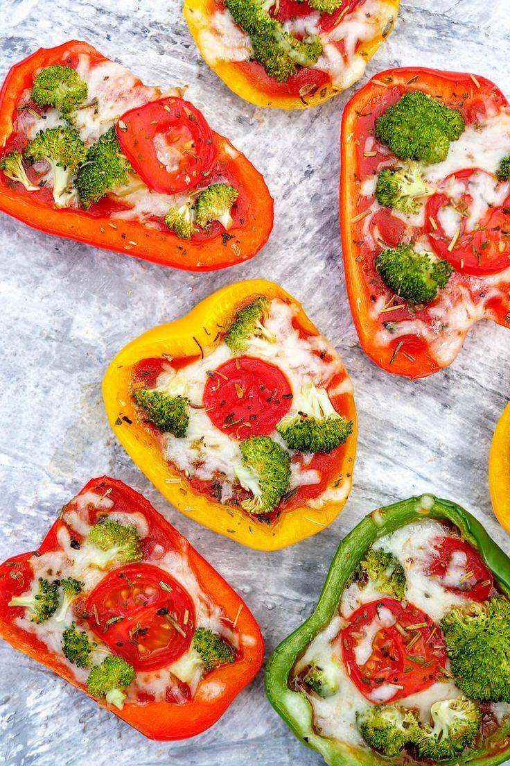 Low Carb gefüllte Pizza-Paprika mit Brokkoli und Tomaten - vegetarisch