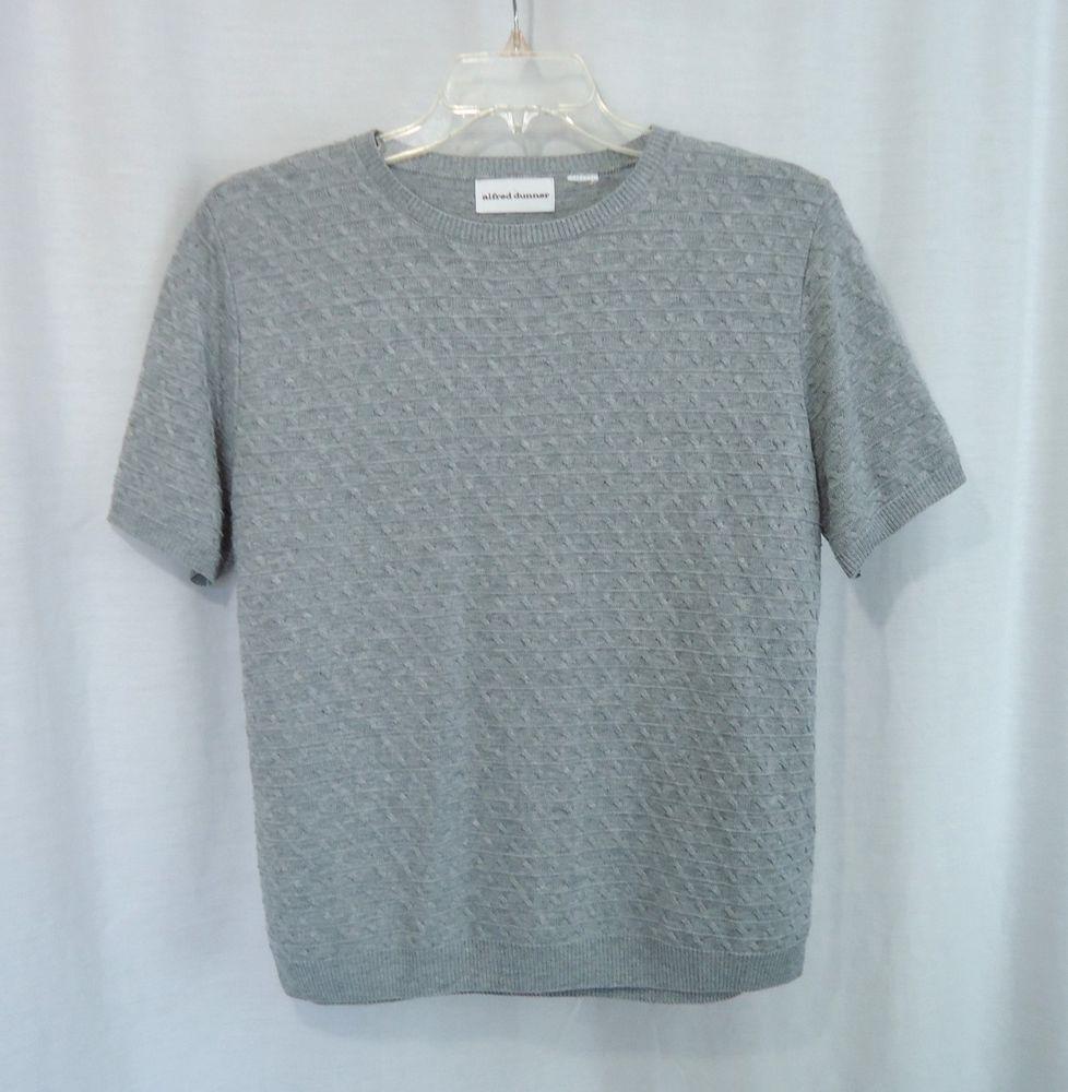 Womens ALFRED DUNNER Gray Short Sleeve Pullover Sweater, Size XL #AlfredDunner #Crewneck