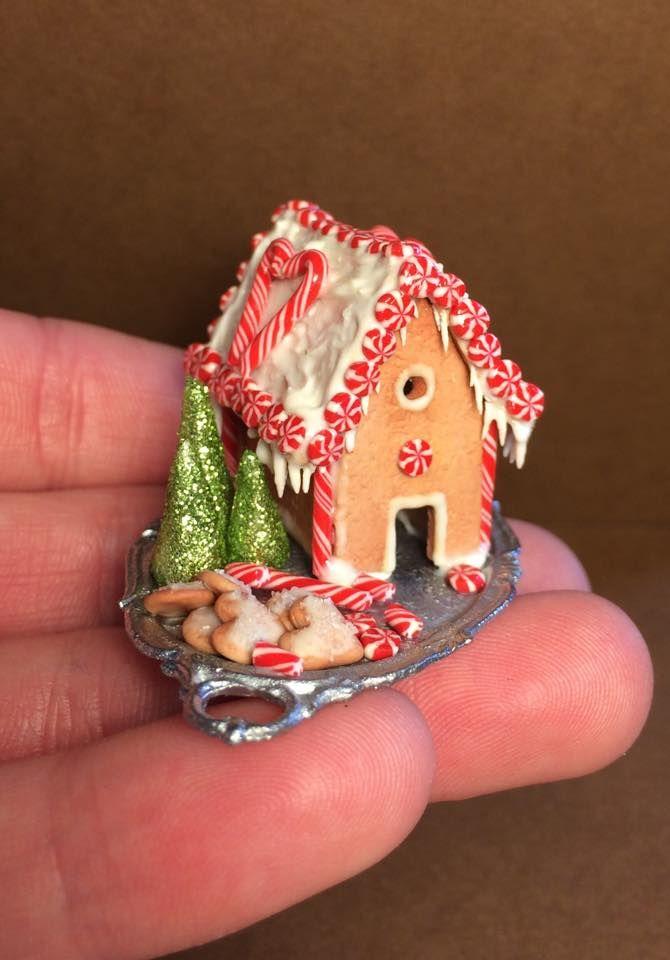 Polymer Clay Gingerbread House Comida En Miniatura Manualidades Casa De Munecas En Miniatura