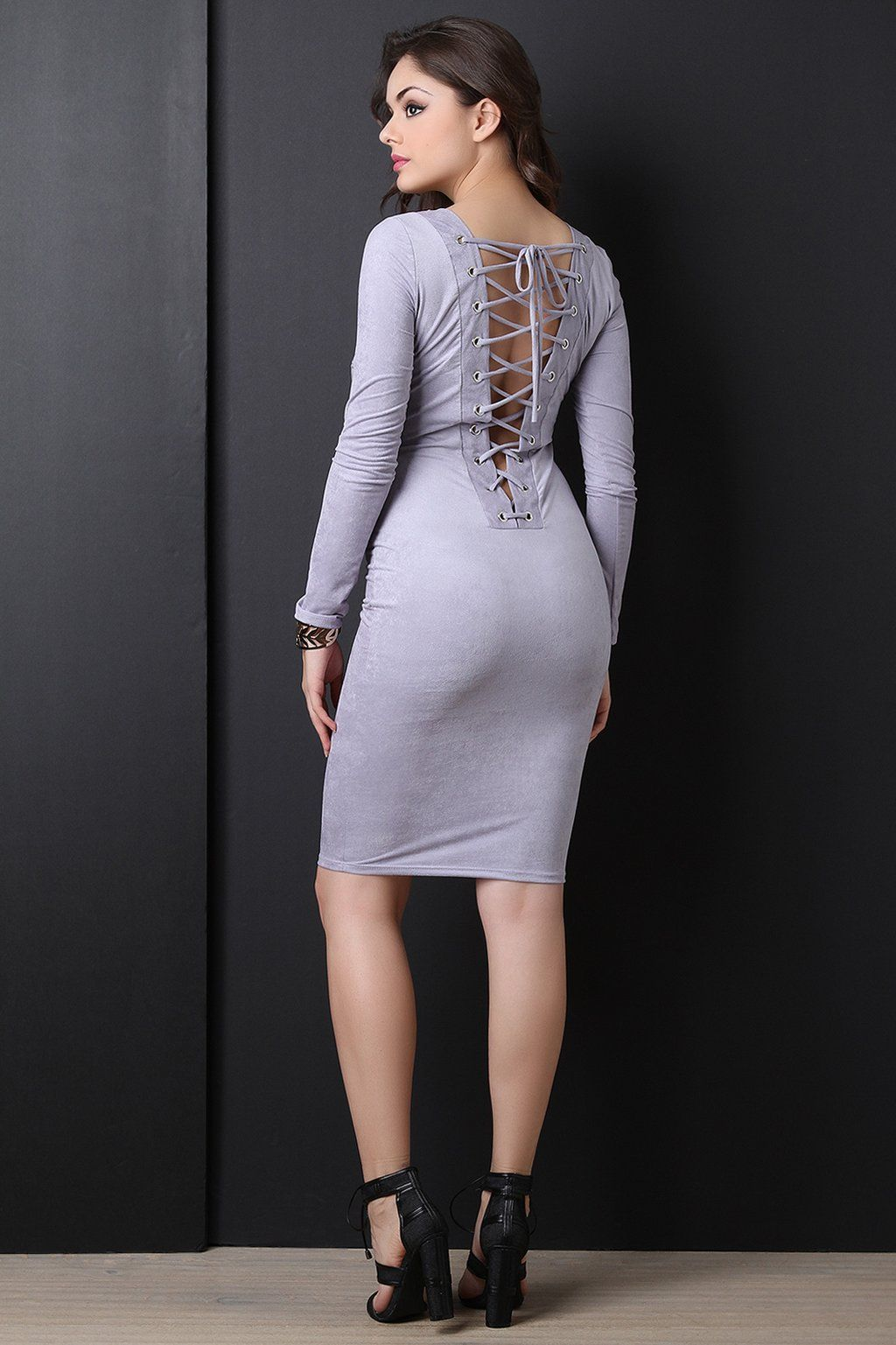 Back corset lace up suede midi dress fashionfuzzy pinterest