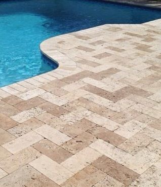 Seminole Florida 6 12 Herringbone Travertine Paver Pool Deck