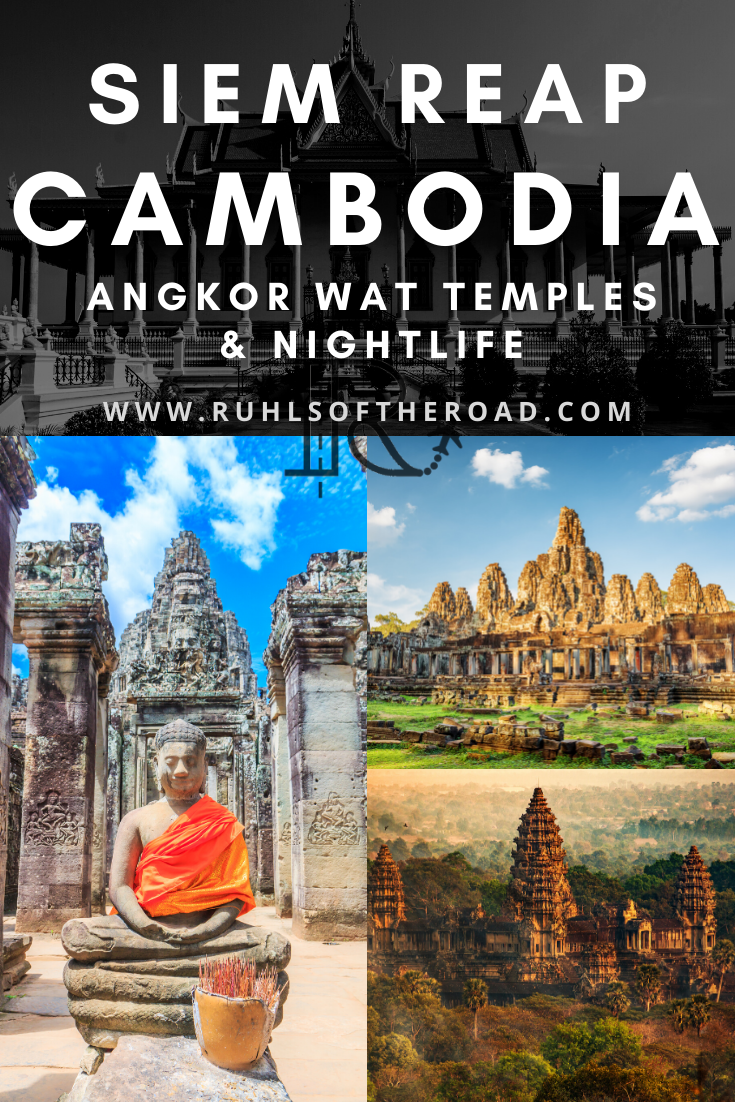 Siem Reap Cambodia travel guide. Explore the Angkor Wat temples and Pub Street at night. Cambodia is a great country to visit while backpacking Southeast Asia and Siem Reap is a beautiful city to see on a budget. Cambodia is a cheap SE Asia destination! See the biggest religious monument in the world! Top Asia Destinations   SE Asia Travel   Asia Travel Tips   Travel Southeast Asia   Ankor Wat Cambodia   Destination Asia   Cambodia Siem Reap. #siemreap #cambodia #angkorwat #seasia #southeastasia