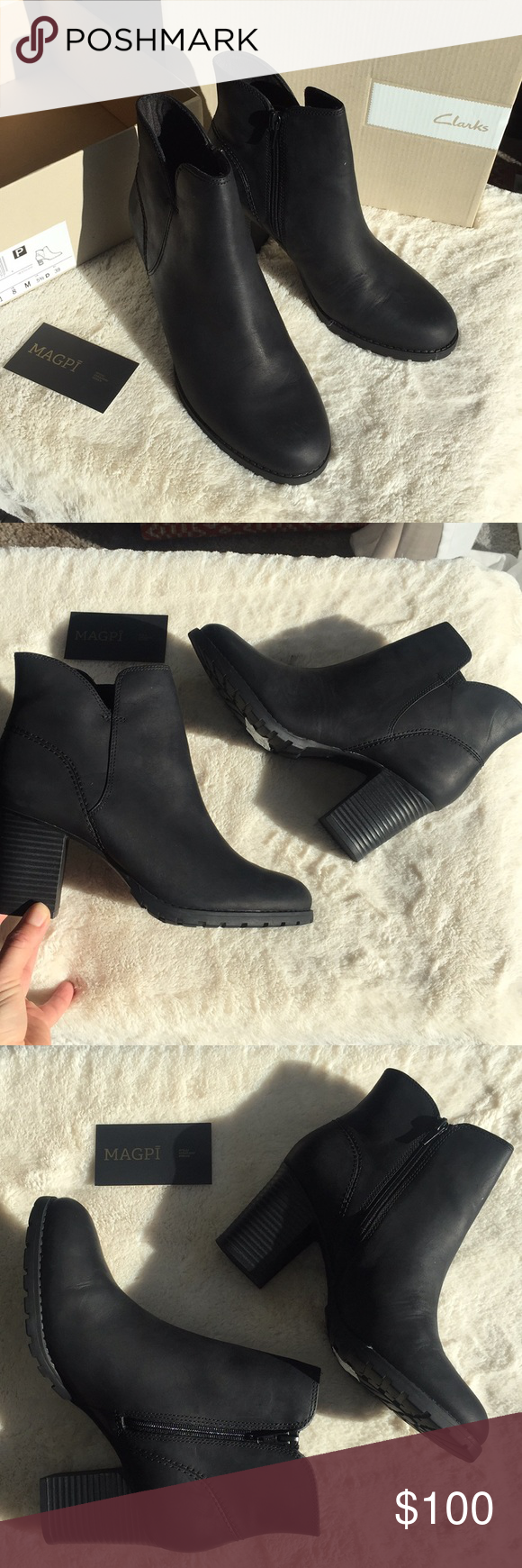 eecf435e3ec9e NWT Clarks Verona Trish Leather Heeled Ankle Boot Beautiful condition,  stacked heel, leather is thick and rich (very light 'life in a box' surface  scuffing, ...