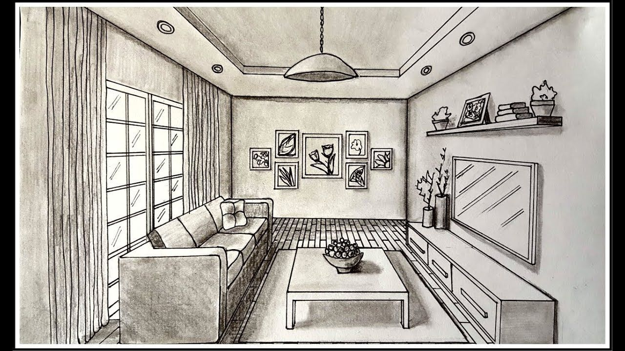 Drawingfusion Com Perspective Room One Point Perspective Room Room Perspective Drawing
