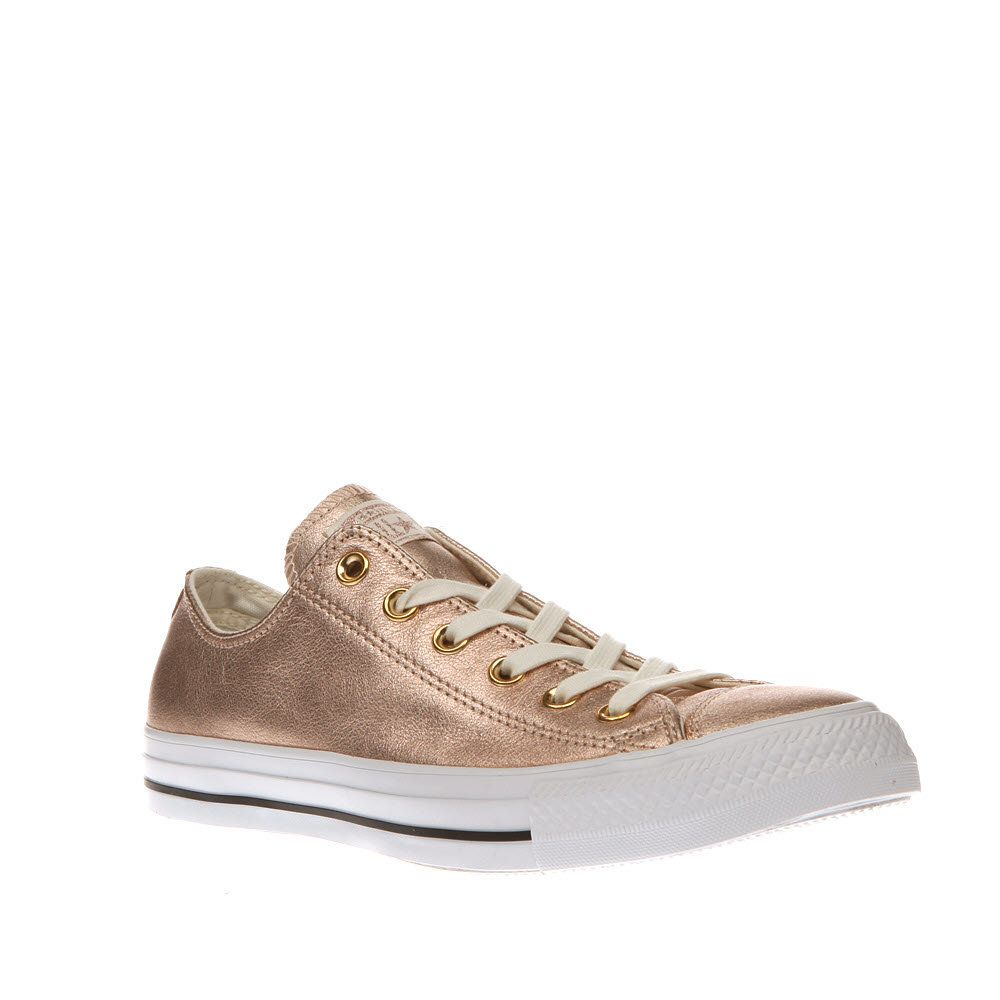 rose gold all star metallic leather ox trainers