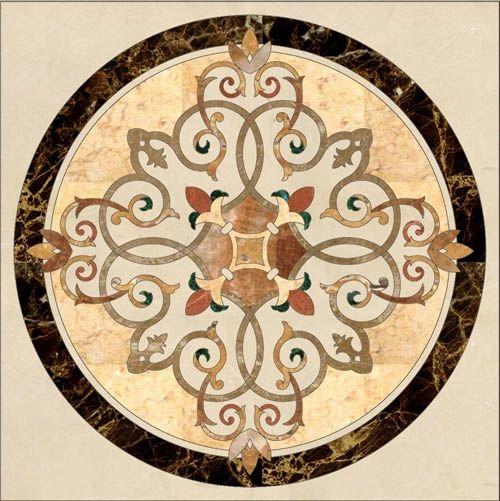 Stone Floor Medallion Marble Inlay Stone Water Jet Pattern Stone Inlay Floor Medallion Marble Medallion Beige Marble
