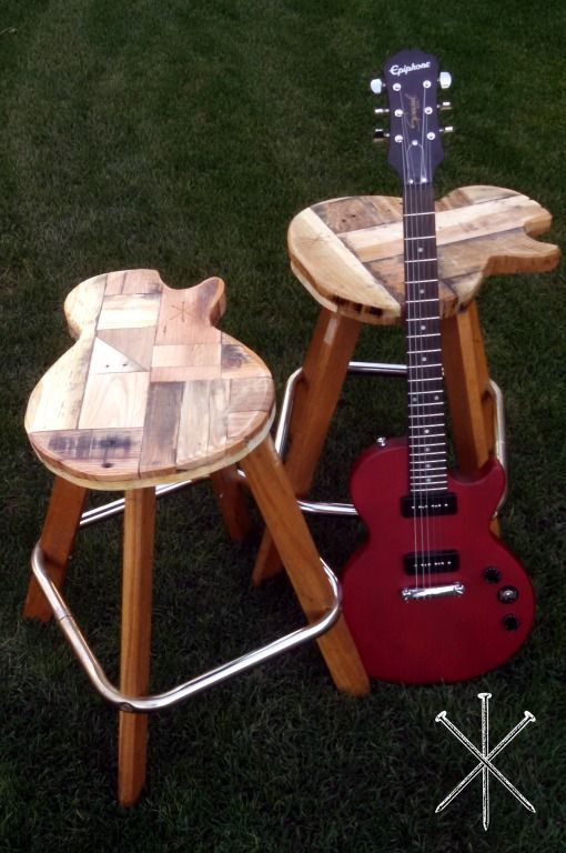 Miraculous Custom Made Reclaimed Wood Guitar Stools Music Furniture Onthecornerstone Fun Painted Chair Ideas Images Onthecornerstoneorg