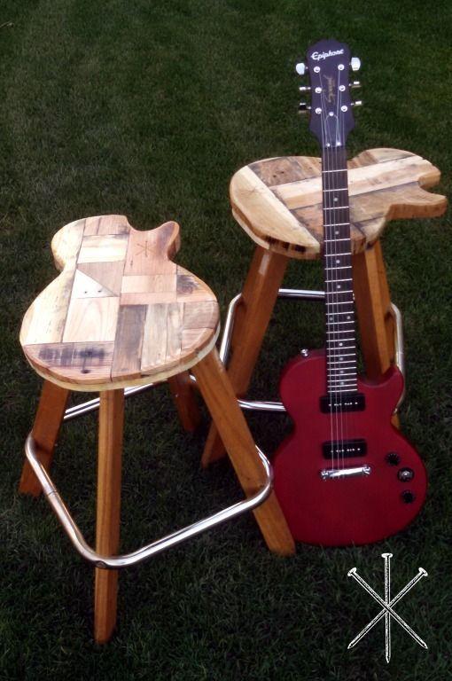 Custom Made Reclaimed Wood Guitar Stools